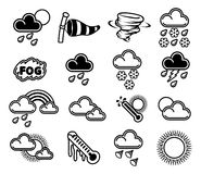 Weather Icons. A set of monochrome weather icons like those used in forecasts Stock Image