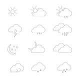 Weather icons set outline. Weather icons line theme. Black outline icons on white background Royalty Free Stock Photo