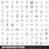 100 weather icons set, outline style Royalty Free Stock Images