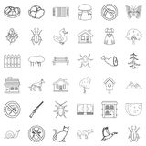 Weather icons set, outline style. Weather icons set. Outline style of 36 weather vector icons for web  on white background Royalty Free Stock Image