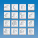 Weather icons set of paper Stock Photos