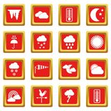 Weather icons set red Stock Photo