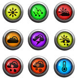 Weather icons set. Weather round glossy icons for web site and user interfaces Stock Image