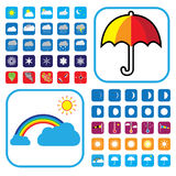 Weather icons set showing 50+ signs and symbols. Colorful weather icons set showing 50+ signs and symbols Royalty Free Stock Photo