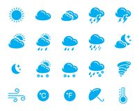 Weather icons. Set of 20 simple solid one color weather icons Royalty Free Stock Photos
