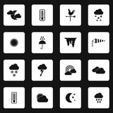 Weather icons set, simple styl Stock Images