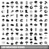 100 weather icons set in simple style. For any design vector illustration Royalty Free Stock Images