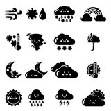 Weather icons set, simple style Stock Photography