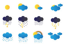 Weather icons. Set of twelve vector weather icons. There are for example, cloudy, sunny, rainy, storm, snow, rainbow and more icons Stock Image
