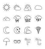 Weather icons set. Vector weather icons set 16 black color Royalty Free Illustration
