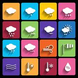 Weather icons set - vector. Royalty Free Stock Photography