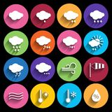 Weather icons set - vector. Stock Image