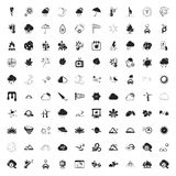 Weather 100 icons set for web. Flat stock illustration