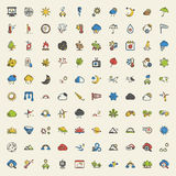 Weather 100 icons set for web. Flat Royalty Free Stock Photography
