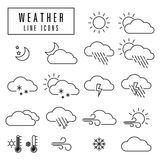 Weather icons. Simple and thin line design Royalty Free Stock Image