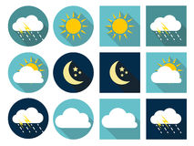 Weather Icons with Sun, Cloud, Rain and Moon in Stock Photo