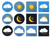 Weather Icons with Sun, Cloud, Rain and Moon Royalty Free Stock Photography