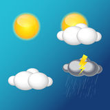 Weather Icons with Sun, Cloud, Rain Vector Illustration Stock Photo