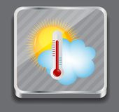 Weather Icons with sun, cloud and thermometer Royalty Free Stock Image