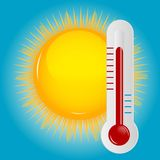Weather Icons with sun, cloud and thermometer Royalty Free Stock Photography