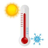 Weather Icons with sun, cloud and thermometer Royalty Free Stock Images