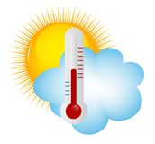 Weather Icons with sun, cloud and thermometer Stock Photos