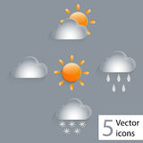 Weather icons. A sun, clouds, rain, snow there are weather glass icons, . Vector illustartion Royalty Free Stock Images