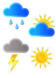 Weather icons. Sun clouds rain storm Royalty Free Stock Photo