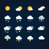 Weather icons sun and clouds in sky, rain with snow, thunder and lightning. Flat vector weather and meteorology for. Mobile and web application vector illustration