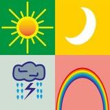 4 weather icons - sun, moon, storm, rainbow. 4 weather icons - sun, moon, storm, a rainbow of different backgrounds Stock Photo