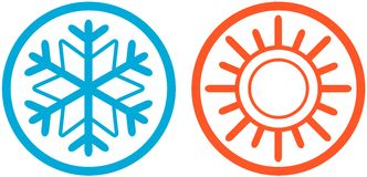 Weather icons with sun and snowflake. Set of two weather icons with sun and snowflake Royalty Free Stock Photos