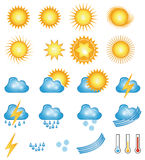 Weather icons. Sunny and cloudy weather icons Stock Images