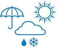 Weather icons – sunny, cloudy, rainy weathe Stock Images