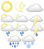 Weather Icons Symbols. A Set of eleven Weather Symbols Stock Photo