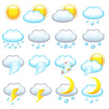 Weather Icons. Vector. 16 Weather Icons, Isolated On White Background, Vector Illustration Royalty Free Stock Images
