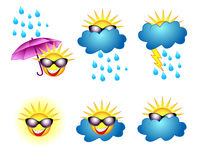 Weather icons. Vector funny weather set icons Stock Images