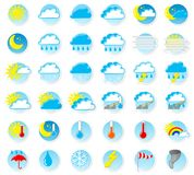 Weather icons. Vector illustration of a set of weather icons stock illustration