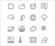 Weather icons vector outline set. Moon, sky or. Wind and cloud symbols. Stocks Design Element Stock Photography