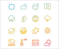 Weather icons vector outline set. Moon, sky or. Wind and cloud symbols. Stocks Design Element Stock Images