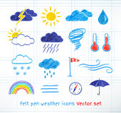 Weather icons vector set Royalty Free Stock Photos