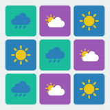Weather icons vector set. Weather flat icons vector set Stock Image