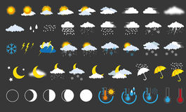Weather icons. Vector set isolated weather icons Royalty Free Illustration