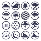 Weather icons vector set. Meteorology theme Royalty Free Stock Photo