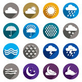 Weather icons vector set, simplistic symbols vector collections Stock Photography