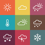 Weather Icons on vintage colorful tiles background Stock Photo