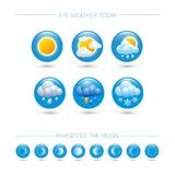 Weather icons. Weather emblem. Round icons with weather symbols and phases of the moon. stock illustration