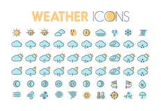 Weather icons. Weather forecast symbols and elements.  Stock Photography