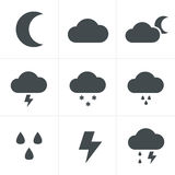 Weather icons on white background Stock Photos