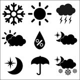 Weather Icons on White Background, Vector Royalty Free Stock Photos