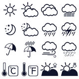16 weather icons on white background. Vector illustration Stock Images